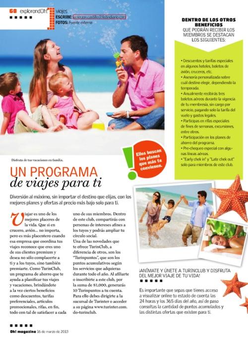 Artículo Club de viajes Oh Magazine